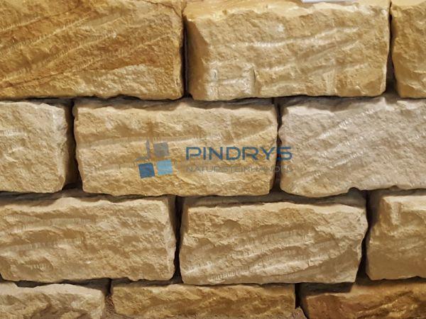 Sandstein Mauersteine 15x20x40 cm gelber Sandsteinmauer aus Polen, Trockenmauer
