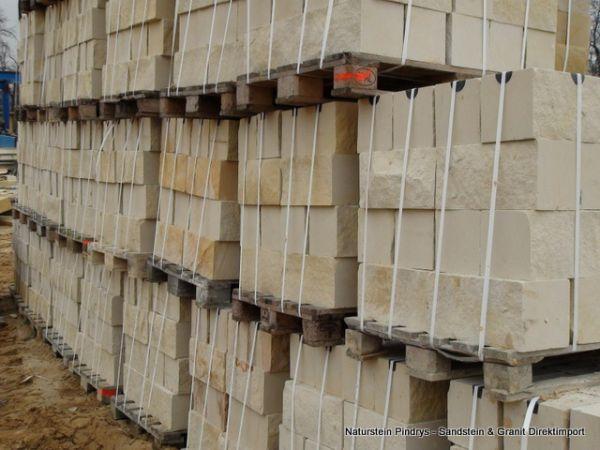 Sandstein Mauersteine 20x20x40 cm 4- fach gesägt, Trockenmauer aus Polen