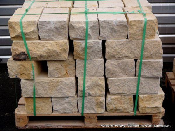 Sandstein Mauersteine 15x20x40 cm Lagerfugen gesägt, Trockenmauer aus Polen