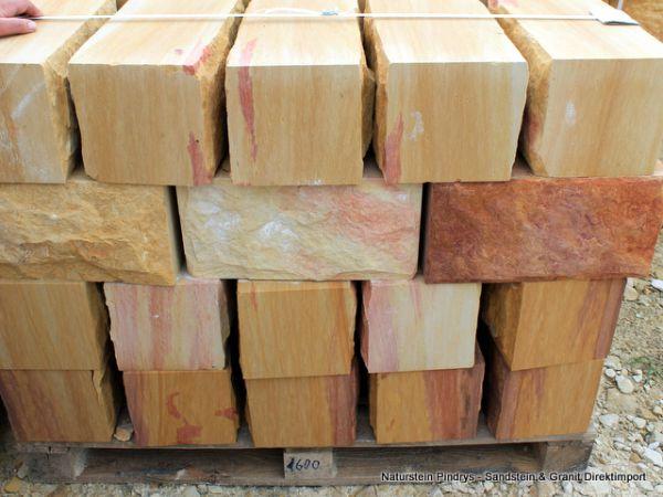 Sandstein Mauersteine 20x20x40 cm, 4- fach gesägt
